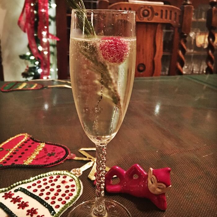 Vintage Christmas Glass of Champagne