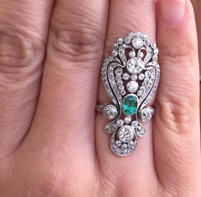 Giving Round Up Rare Elements Diamond and Emerald Ring