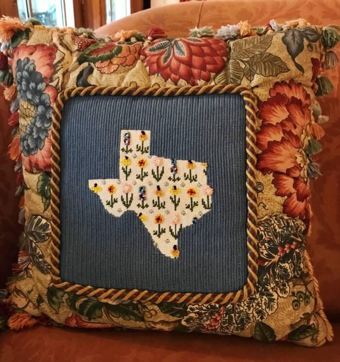 Needlepoint Texas Pillow