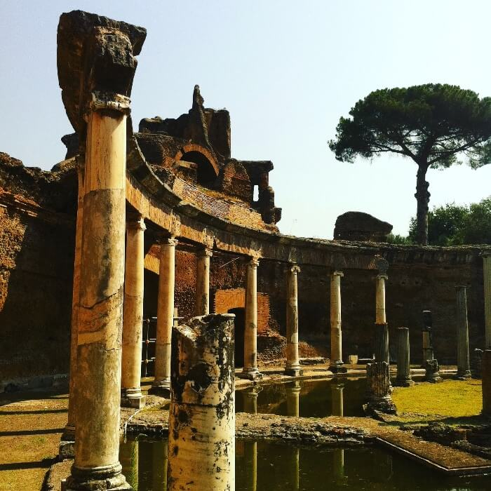 Hadrian's Villa ruins at sunset