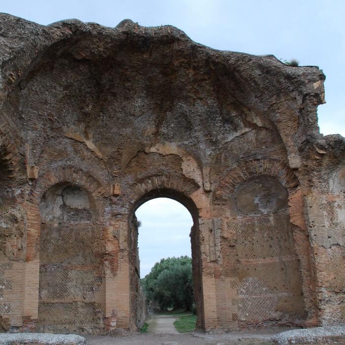 Roman Bath ruins in Hadrian's Villa in Tivoli Italy