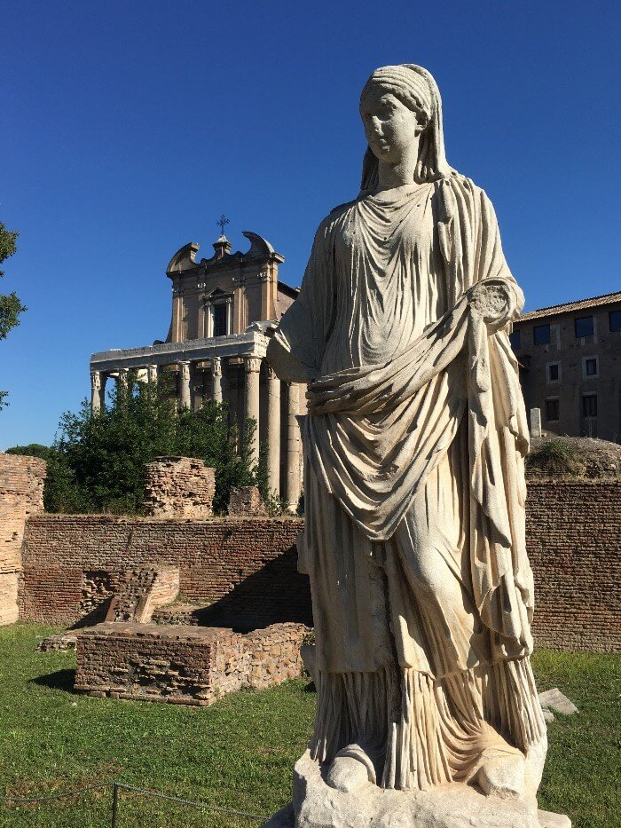 Roman Ruins in the Roman Forum under a blue sky