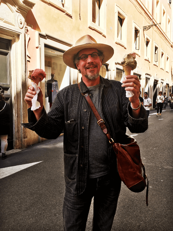 Gelato Shop Will Evans with two ice cream cones in Rome