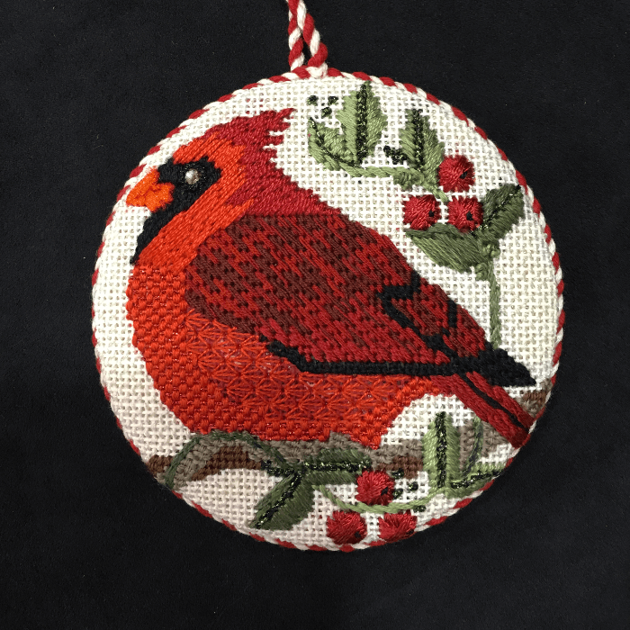 Patricia Sone Needlepoint Christmas Tree Ornament of a Red Cardinal