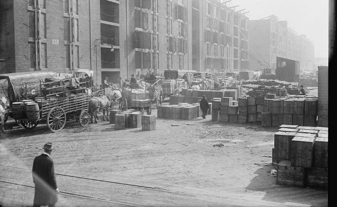Industry City Flea Market Black and White Photo