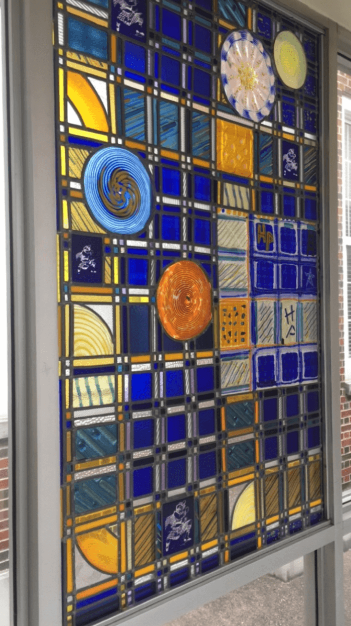 Stained Glass window inside Highland Park High School