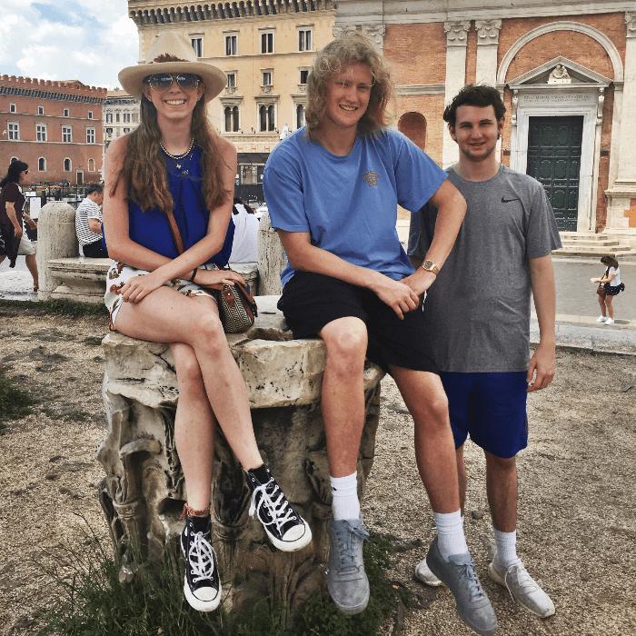 Teens touring the Roman Forum