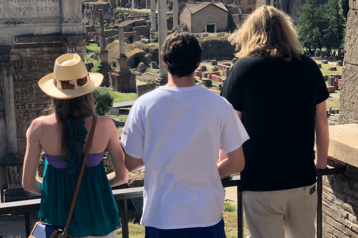Family Travel Three Teens in Roman Forum