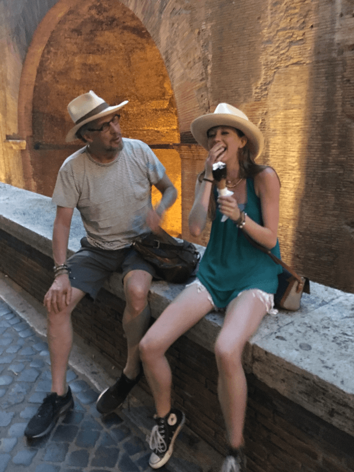 Will Evans and EA eating gelato at the Pantheon