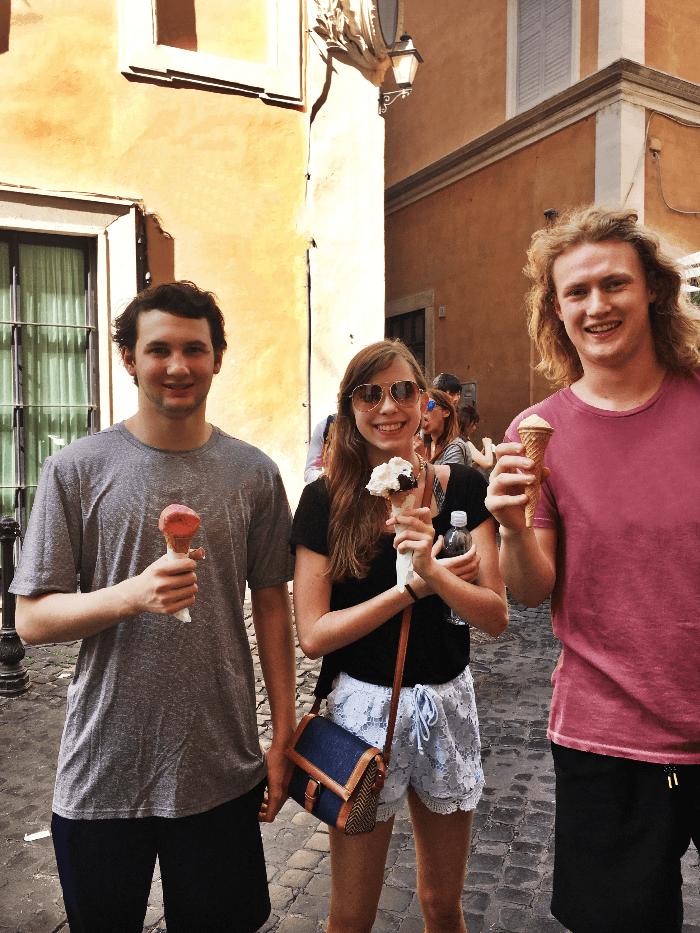 Teens enjoying gelato at Giolitti in Rome