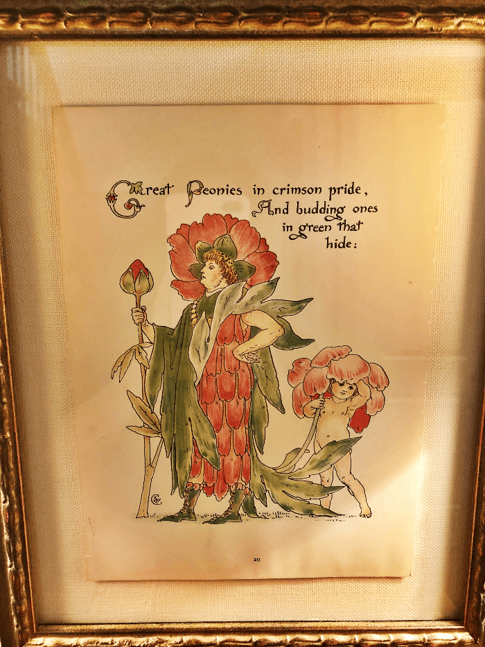 Vintage Print of woman dressed as a flower