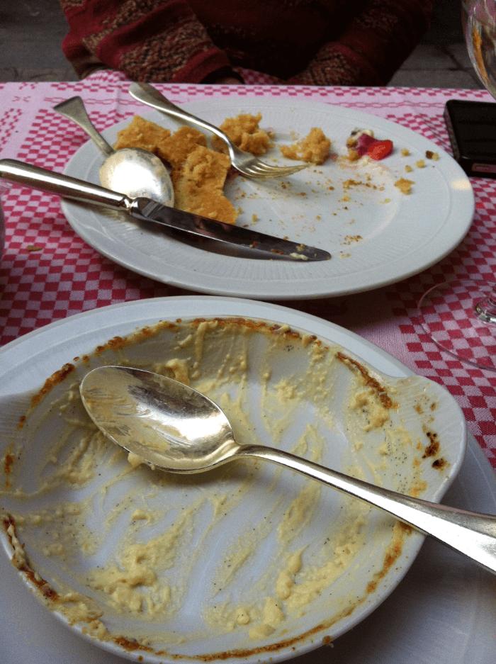 Gelato vs. Creme Brulee finished desserts
