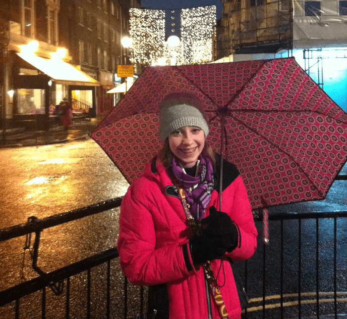 Dear Parents, Travel With Your Kids Christmas in London Umbrella