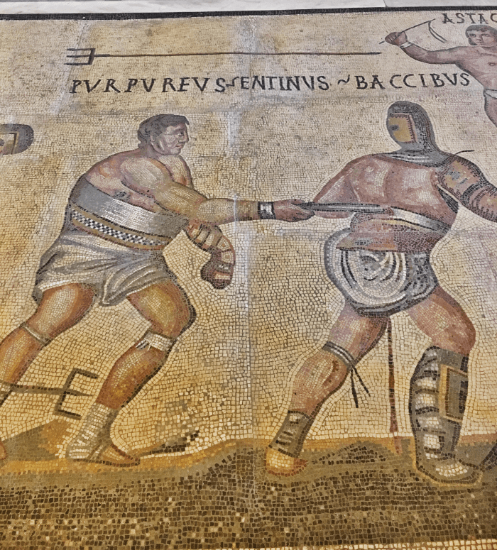 Got Rome Right Gladiators in Battle Mosaic
