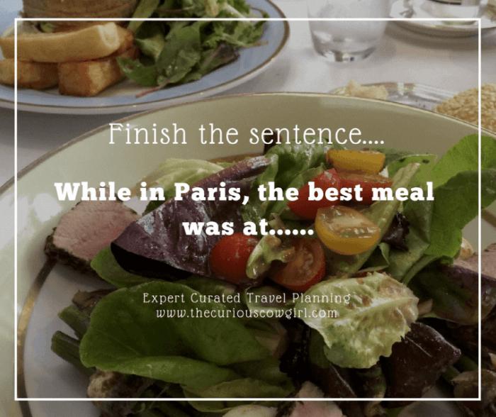Feedback best meal in Paris
