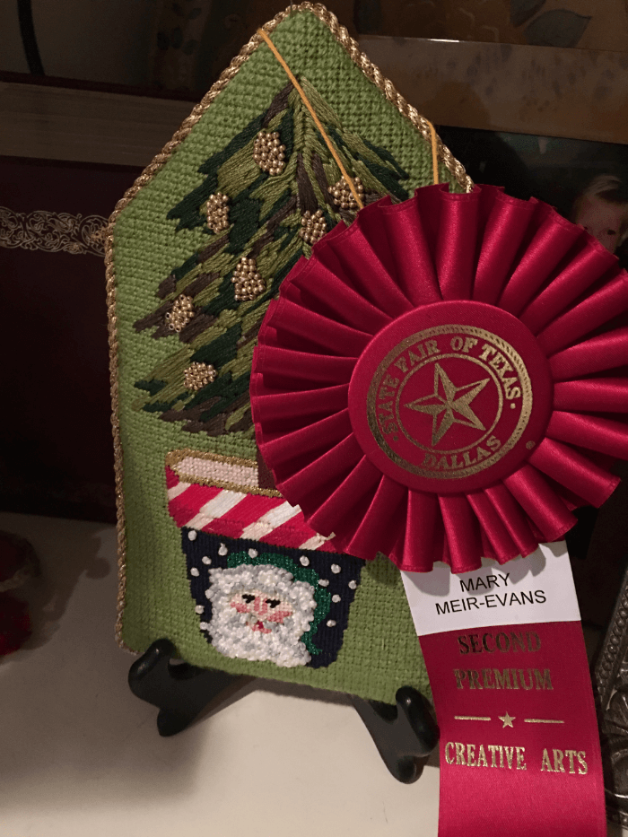 Ribbon Winners Needlepoint Santa Pot Red Ribbon