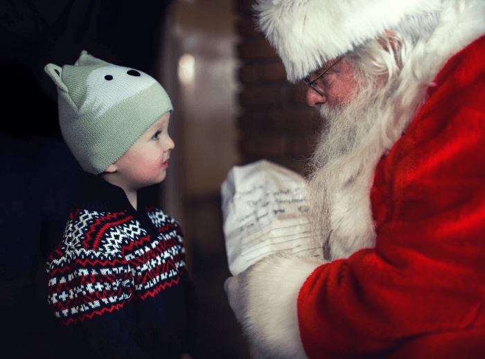 Christmas Cheer Child with Santa