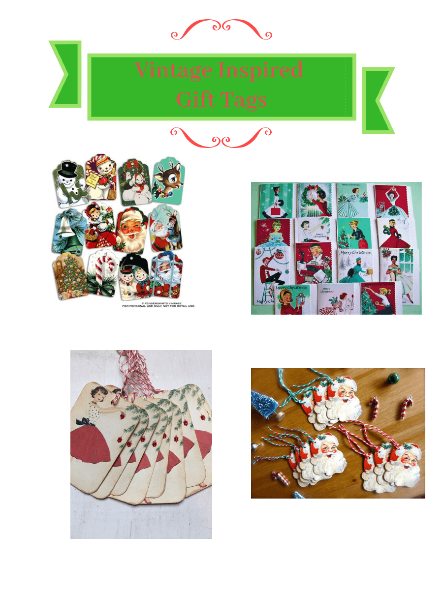 Vintage Christmas Gift Tag Collage