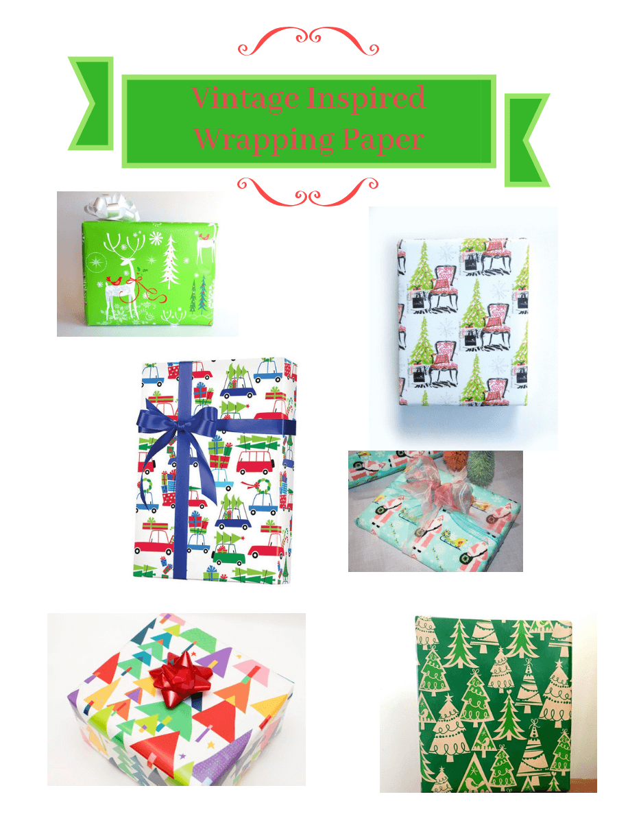 Vintage Christmas Wrapping Paper Collage