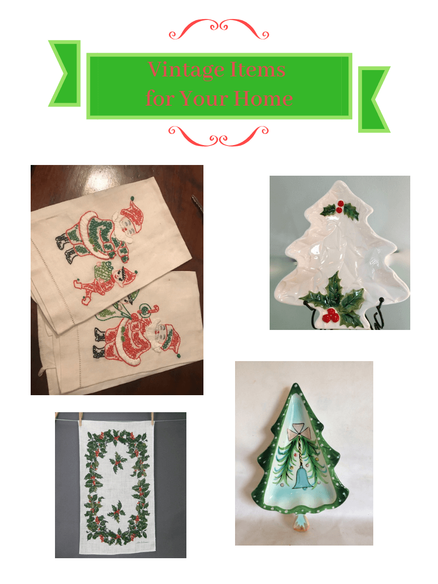 Vintage Christmas Tea Towels and Candy Dishes