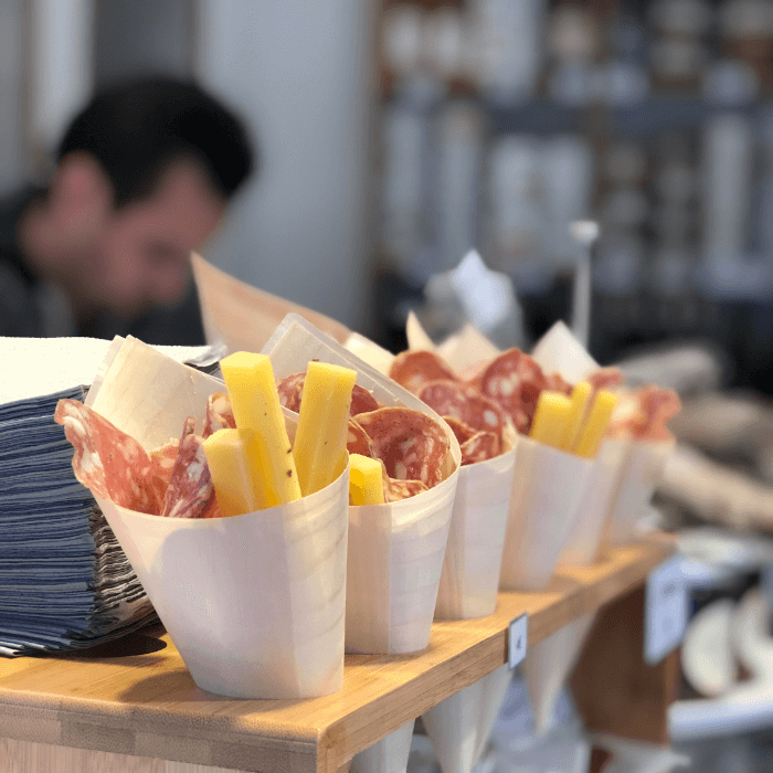 Salami and Cheese in paper cones