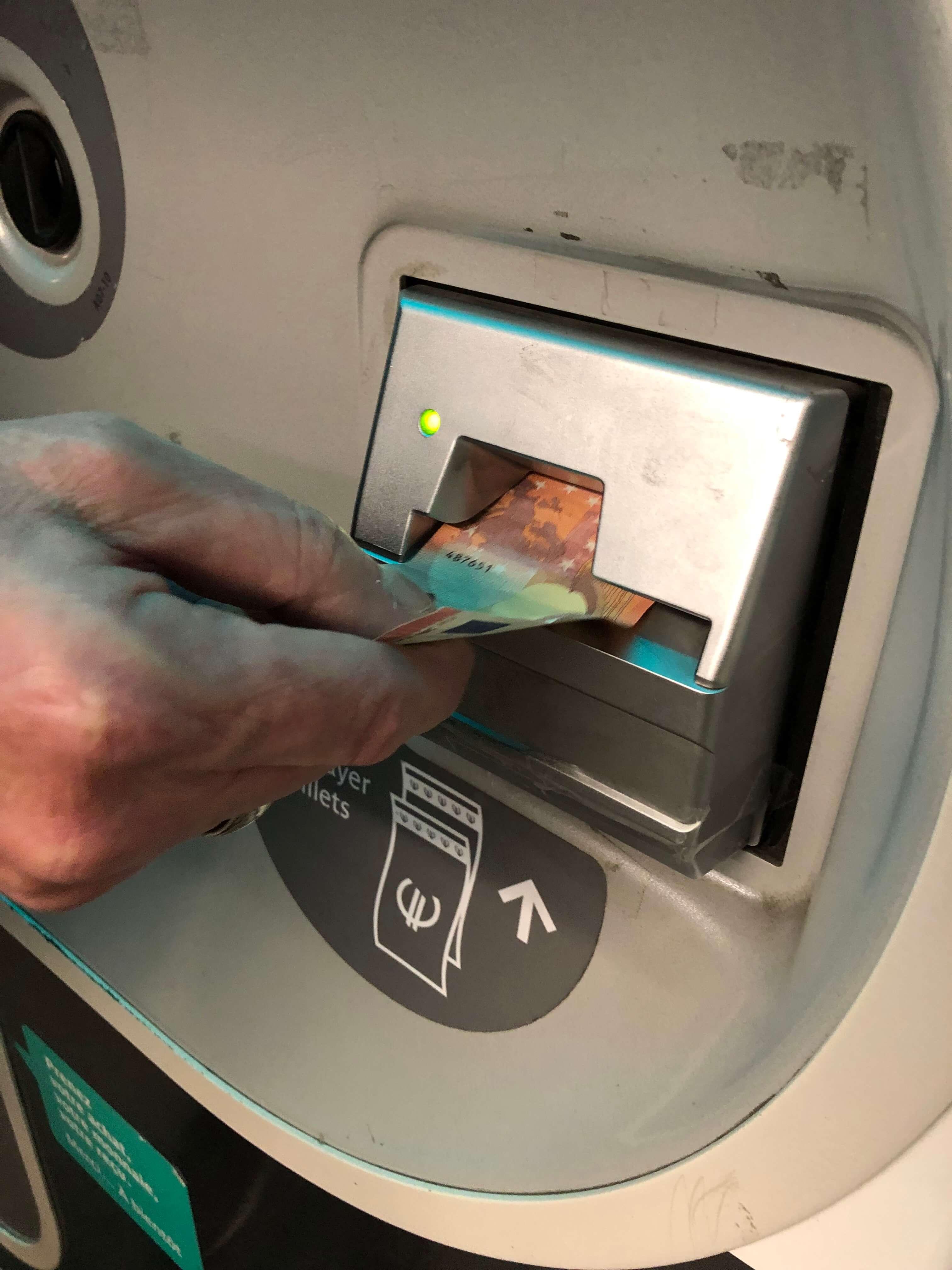 Paris Metro Ticket Machine money intake slot