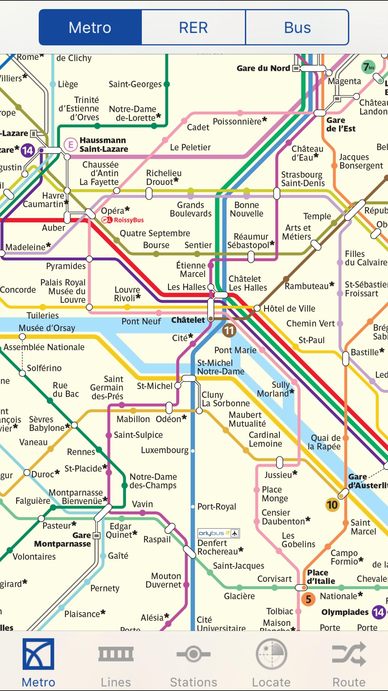 Paris Metro Map Detail