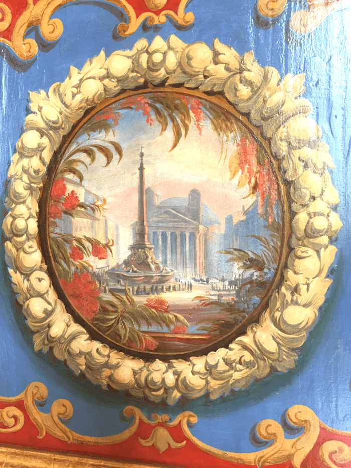 Rome Fact vs. Fiction Cabinet painting of the Pantheon with towers