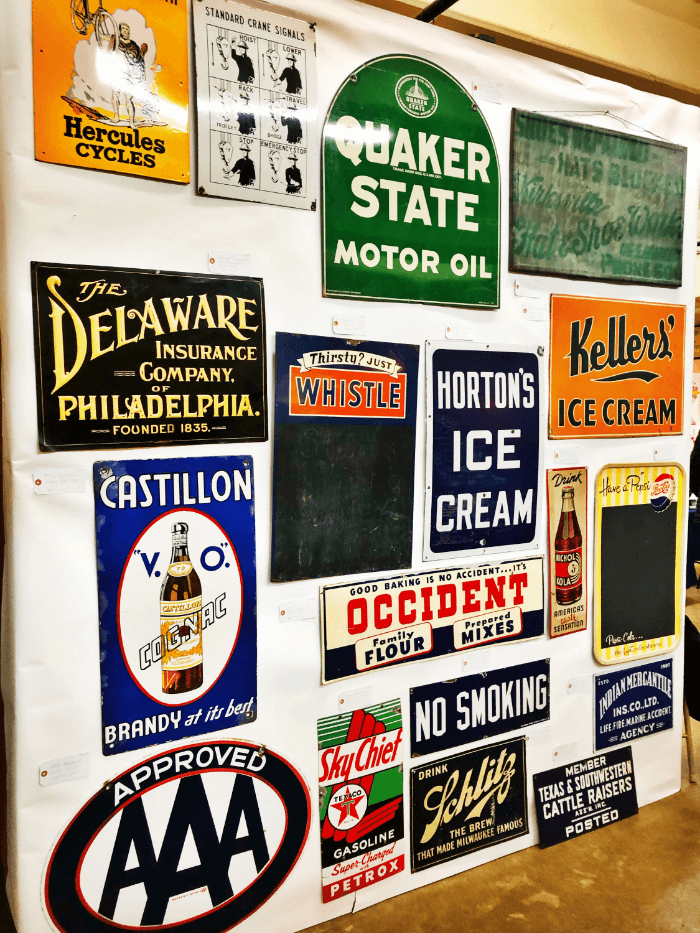 Vintage trade signs at The Nashville Show at the Fairgrounds
