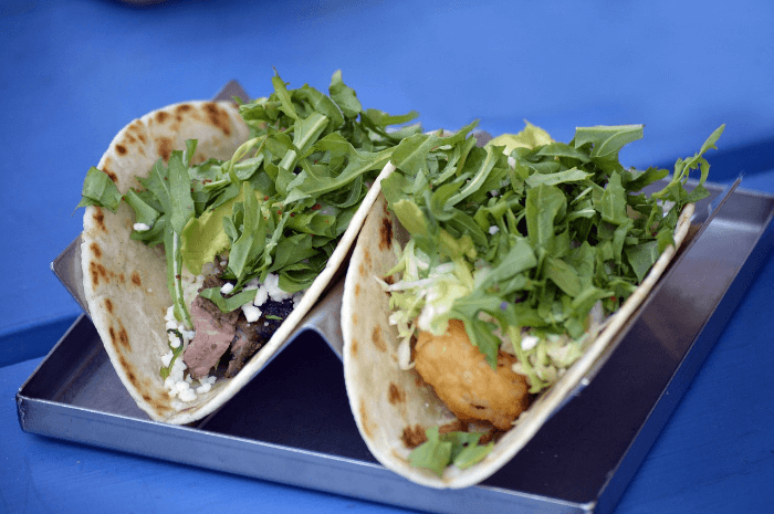 flour tacos with arugula