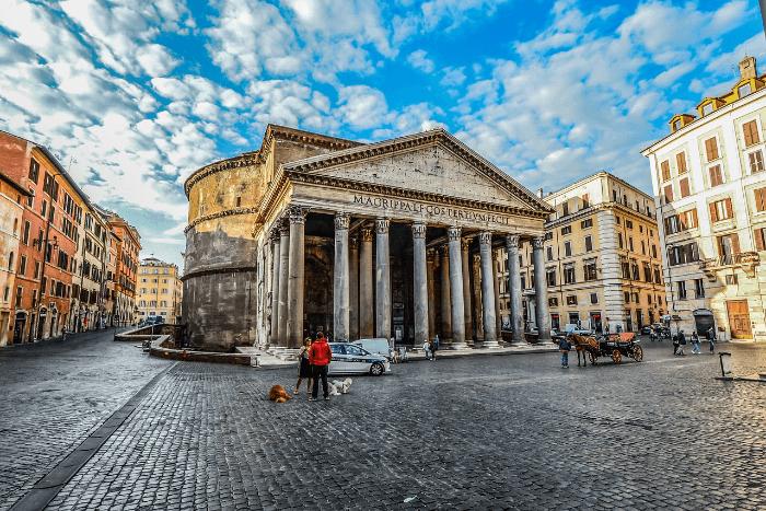 Pantheon in Rome under blue skies