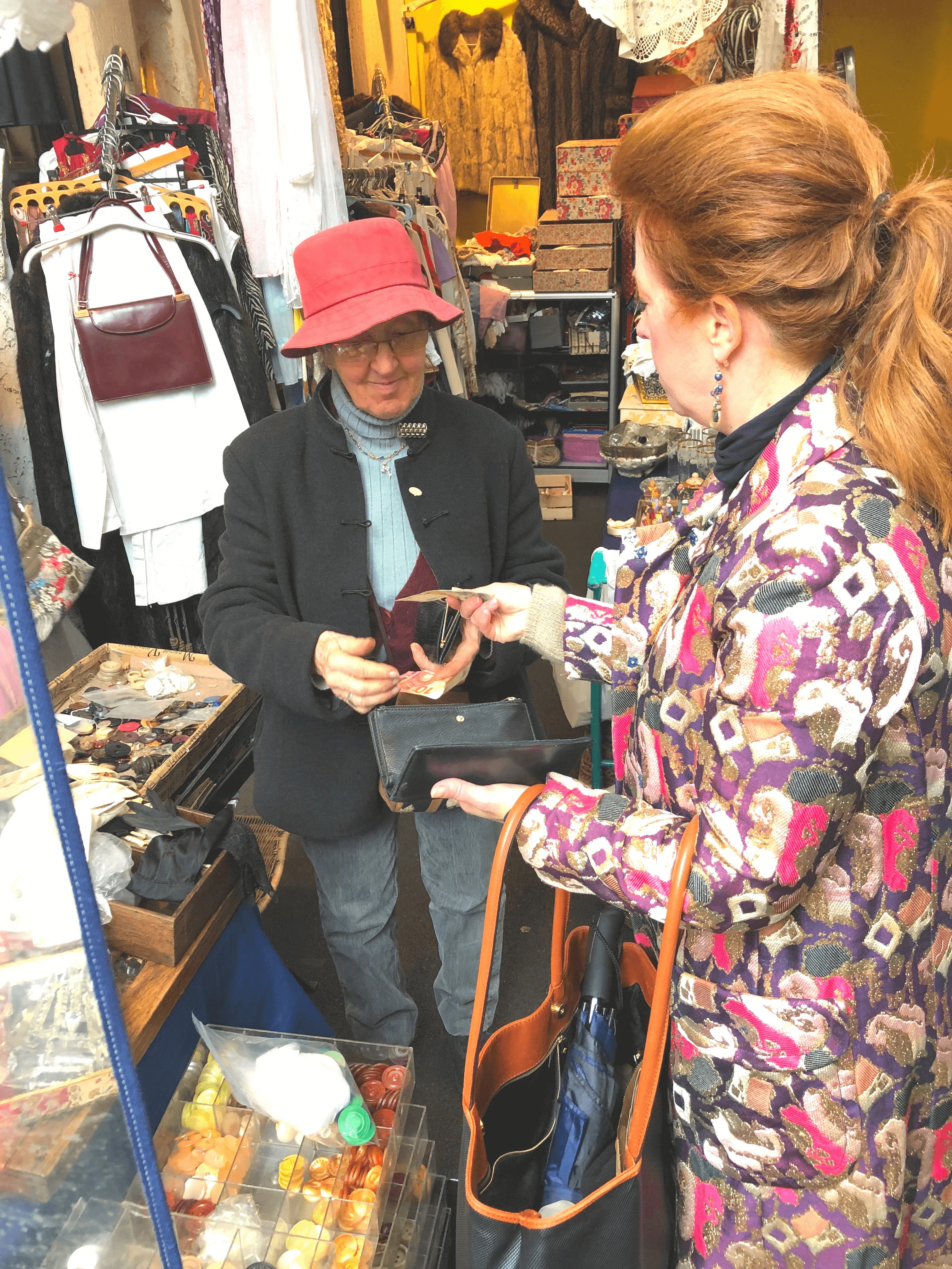 The Curious Cowgirl buying Vintage buttons at the Paris Flea Market
