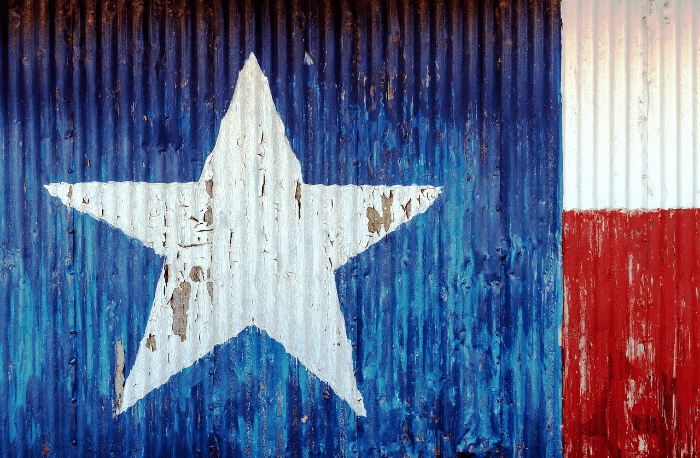 Texas Flag painted on a barn door