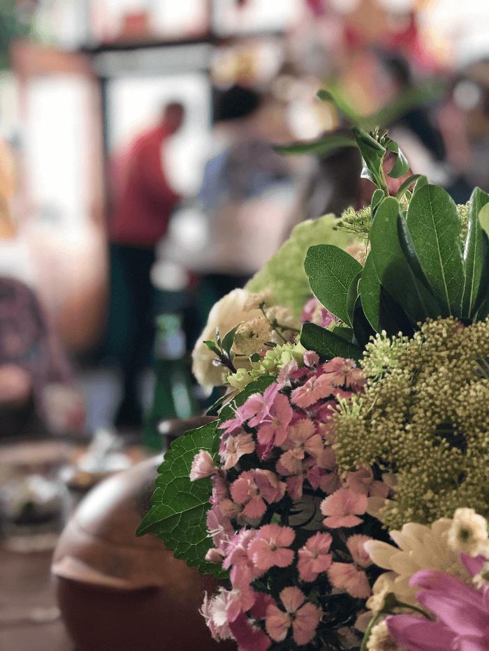 Flower Arrangement in Cafe Pasqual Santa Fe